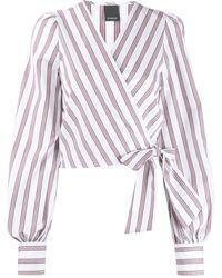 Pinko Блузка В Полоску С Запахом - Белый
