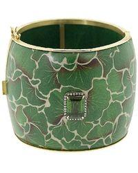 Silvia Furmanovich 18kt Yellow Gold Diamond Green Leaf Bangle Bracelet