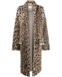 Laneus Пальто С Леопардовым Узором Вязки Интарсия - Многоцветный