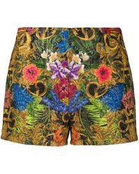 Versace Jeans Baroque Print Shorts - Metallic