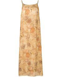 Uma Wang フローラル ドレス - ブラウン