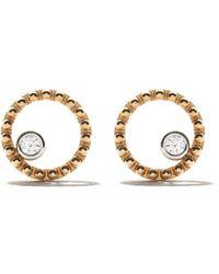 AS29 - 18kt Yellow Gold Mye Round Beading Diamond Earrings - Lyst