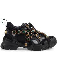 Gucci Flashtrek Sneakers Met Afneembare Kristallen - Zwart
