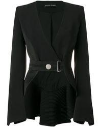 David Koma Belted Cropped Jacket - Black