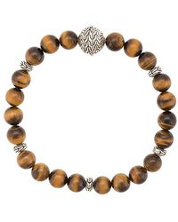 John Hardy - Silver Classic Chain Tiger Eye Round Bead Bracelet - Lyst
