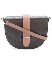 Brunello Cucinelli Half Moon Metallic-effect Crossbody Bag - Brown