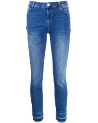 Twin Set Fringed-ankle Skinny Jeans - Blue