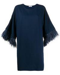 P.A.R.O.S.H. Vestido con ribetes de plumas - Azul