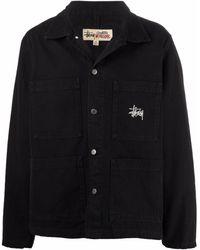 Stussy ロゴ シャツジャケット - ブラック