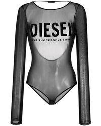 DIESEL ロゴ メッシュボディスーツ - ブラック