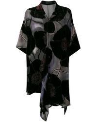 Yohji Yamamoto フローラル アシンメトリードレス - ブラック