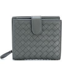 Bottega Veneta イントレチャート 二つ折り財布 - グレー