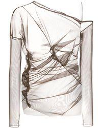 Nensi Dojaka Сетчатая Блузка С Открытыми Плечами - Коричневый