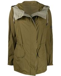 Army by Yves Salomon Colour Block Hooded Rain Coat - Green