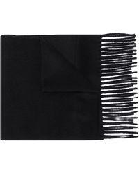 Filippa K Fine Knit Frayed Edge Scarf - Black