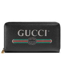 Gucci Black Logo Leather Zip Around Wallet - Zwart