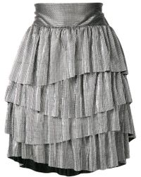 Christian Pellizzari - Metallic Ruffled Mini Skirt - Lyst