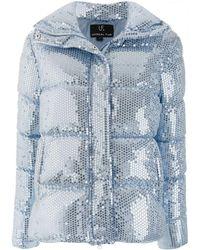 Unreal Fur スパンコール パデッドジャケット - ブルー