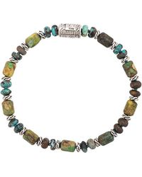 John Hardy Silver Classic Chain Mixed Turquoise Bead Bracelet - Зеленый