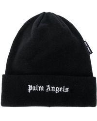 Palm Angels Logo-embroidered Beanie - Black