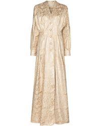 Sandra Mansour Floral-jacquard Maxi Dress - Natural