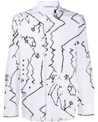 Neil Barrett - Abstract Print Poplin Shirt - Lyst