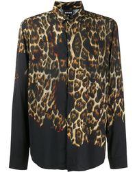 Just Cavalli Рубашка С Градиентным Леопардовым Принтом - Черный