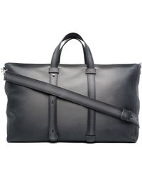 Orciani Logo-lettering Leather Tote Bag - Grey