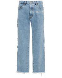 Natasha Zinko - Mid Rise Straight Leg Frayed Jeans - Lyst