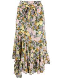 293493d76 Falda asimétrica con estampado floral - Verde