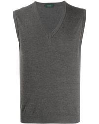 Zanone V-neck Knitted Vest - Gray