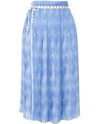 PORTSPURE プリーツ ラップスカート - ブルー