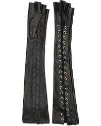 Manokhi - Long Lace-up Fingerless Gloves - Lyst