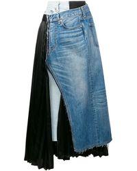 Junya Watanabe Paneled Asymmetric Wrap Skirt - Blue