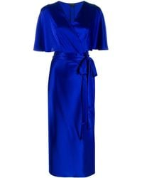 ESCADA Vネック ドレス - ブルー