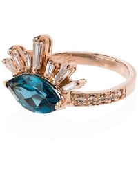 Jacquie Aiche - 14kt Gold Topaz Burst Diamond Ring - Lyst