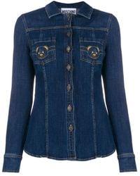 Moschino Teddy Bear Embroidered Denim Shirt - Blue