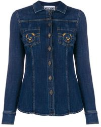Moschino Teddy Bear Embroidered Denim Shirt - Blue