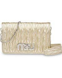 61a3d507f6 Miu Miu Délice Miu Logo Plaque Crossbody Bag in Black - Lyst