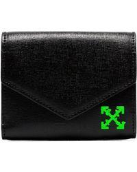 f90852326cf9 Off-White c o Virgil Abloh - Black Envelope Front Grosgrain Leather Wallet -