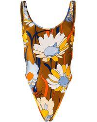 Fendi Daisy-print Chenille Swimsuit - Коричневый