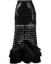 David Koma Falda con apliques y cortes a láser - Negro