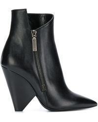 Saint Laurent Niki 85 Asymmetric Boots - Black