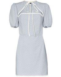 Masterpeace Cutout Polka-dot Mini Dress - Blue