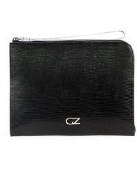 Giuseppe Zanotti Snakeskin-effect Logo Clutch Bag - Black