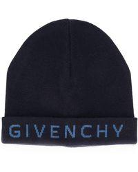 Givenchy Bonnet à logo intarsia - Bleu