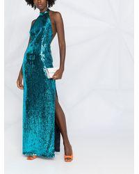 Galvan London Платье Oceana С Пайетками - Синий