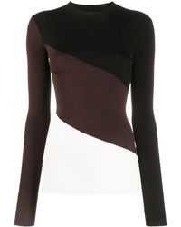 Peter Do Color Block Ribbed-knit Sweater - Black