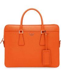 Prada Mallette à plaque logo - Orange