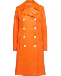 Prada Двубортное Пальто - Оранжевый